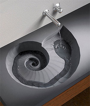 Lavabo fossile chiamato Ammonite ed ideato dal marchio tedesco HighTech Design Products